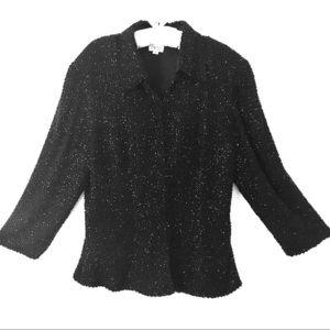 Black Silk Beaded 3/4 Sleeve Jacket